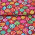 Baubles karácsonyi textil, Textil, Pamut, 100% pamut anyag 25cm x 110cm Christmas Novelties kollekcióból Amerikai designer anyag  Bordó alapon..., Alkotók boltja