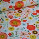 Roots Main - 25cm x 110cm, Textil, Pamut, Varrás, Textil, Amerikai designer anyag, Riley Blake.    Minta: Fehér alapon nagy szines virág minta  100% pamut, 3..., Alkotók boltja