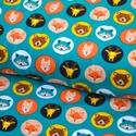 Állt fejek BIO jersey textil 25x 140 cm, Textil, Pamut, Varrás, Textil, Zöldes alapon körben állatfejek  95% bio pamut és 5% elasztán  GOTS minősítésű BIO PAMUT  A legkise..., Alkotók boltja