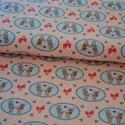 Karl és Lotta BIO jersey textil 25x 170 cm, Textil, Pamut, Varrás, Textil, Szerelmes  őzikék púder rózsaszín alapon  95% bio pamut és 5% elasztán, 170 cm széles és 210g/m2 va..., Alkotók boltja