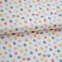 Mori Circles- 25cm x 110cm, Textil, Pamut, Varrás, Textil, Angol designer anyag  Minta:satírozott piros, fekete és mustár sárga pöttyök fehér alapon  100% pam..., Alkotók boltja