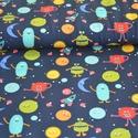 Űr szörnyek okotex jersey textil 25x 150 cm, Textil, Pamut, Varrás, Textil, Gyerek textil, színes szörnyek Oeko-tex minőségű jersey textil Rugalmas, jersey textil 95%  pamut é..., Alkotók boltja
