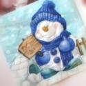 Karácsonyi  hóemberes szalvéta, Papír, Szalvéta, Decoupage, szalvétatechnika, Decoupage minták, Kék sapkás hóemberes szalvéta. Dekupázs technikához nagyon jól felhasználható. Egy szalvétán, 4db e..., Alkotók boltja