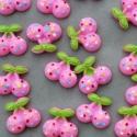 3 db-os Rózsaszín cseresznye meggy cabochon kaboson szett, Dekorációs kellékek, Gyöngy, ékszerkellék, Édes cseresznye mintás cabochon csomag  Méret:20mm  Vidám színek, igazi 'cukiság'  Lapos háttal, kit..., Alkotók boltja