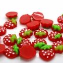 5 db-os piros eper cabochon kaboson szett, Dekorációs kellékek, Gyöngy, ékszerkellék, Édes mintás cabochon csomag  Méret:16 x 14mm   Lapos háttal, kitűnően ragasztható  Ideális scrapbook..., Alkotók boltja