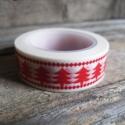 Karácsonyi mintás Washi tape - Fenyőfa 1, Papír, Scrapbook, Karácsonyi mintás washi tape    Méret: 10m/tekercs  Szélesség: 1,5cm  Csomagolásra, scrapbookinghoz,..., Alkotók boltja