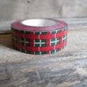 Karácsonyi mintás Washi tape - Kockás, Papír, Scrapbook, Karácsonyi mintás washi tape    Méret: 10m/tekercs  Szélesség: 1,5cm  Csomagolásra, scrapbookinghoz,..., Alkotók boltja
