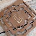 Vintage fa keretű 4db-os boríték stencil sablon, Fa, Egyéb fatermék, Fa boríték sablon - örök darab  Anyaga: fa  Külső méret: 14 x 14 cm  A középen látható boríték készí..., Alkotók boltja