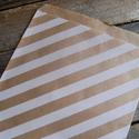 Barna kraft csíkos papírtasak süteményes zacskó, Csomagolóanyag, Fólia, Mézeskalácssütés, 10 db leheletvékony, finom papírzacskó   Méret: kb. 13 x 18 cm    Ideális saját készítésű sütinek, ..., Alkotók boltja