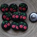 10 db-os,cseresznyés húzott gomb csomag, Dekorációs kellékek, Gomb, Varrás, Gomb, 10 db-os, 22 mm-es, húzott, textil gomb csomag textilekhez, scrapbookinghoz, dekorációhoz, egyéb kr..., Alkotók boltja