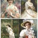 Hölgyek rózsával, Papír, Decoupage papír, Decoupage, szalvétatechnika, Decoupage minták, A 4-s méretű rizsnyomat, vékony 20 gr-s rizspapíron, découpage technikához. Az eredeti nyomatot víz..., Alkotók boltja