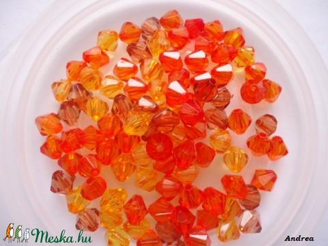- 8 mm akril bicon  NARANCS MIX 30 db/cs., Gyöngy, ékszerkellék, Műanyag gyöngy, Alkotók boltja