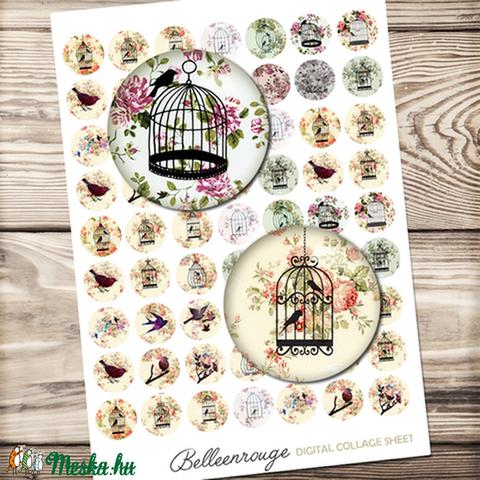 Digitális kép ékszerkészítéshez 25x25mm Madárkák, Gyöngy, ékszerkellék, Papír, Alkotók boltja