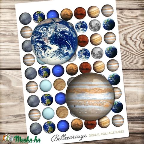 Digitális kép ékszerkészítéshez 25x25mm - naprendszer, világűr, Gyöngy, ékszerkellék, Üveglencse, Alkotók boltja