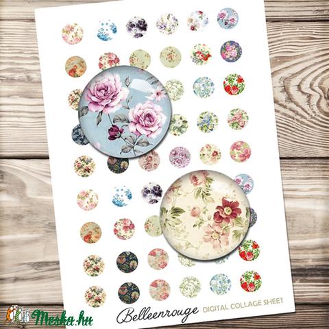 Digitális kép ékszerkészítéshez 20x20mm - Virágok, Gyöngy, ékszerkellék, Papír, Alkotók boltja