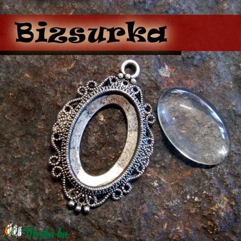 Antik ezüst medálalap (5032)+üveglencse (30x20), Gyöngy, ékszerkellék, Alkotók boltja