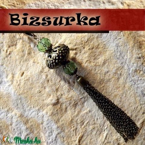 Antik bronz gyöngyös bojt medál, Gyöngy, ékszerkellék, Alkotók boltja