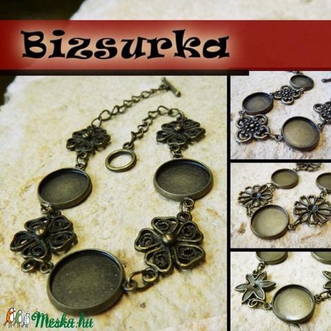 Antik bronz virágos karkötő + üveglencse / 4 típus választható, Gyöngy, ékszerkellék, Fém köztesek, Alkotók boltja