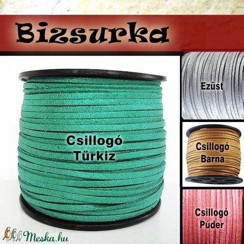 Türkizkék csillogó velúr hatású műbőrszál, Gyöngy, ékszerkellék, Egyéb alkatrész, Alkotók boltja