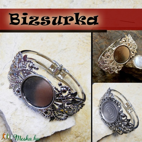 Ezüst színű csipke veretes karperec + üveg 25mm / 3 féle, Gyöngy, ékszerkellék, Fém köztesek, Alkotók boltja