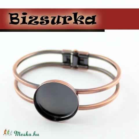 Vörösréz színű karperec alap ragasztható foglalattal + üveglencse 25mm,2.tipus, Gyöngy, ékszerkellék, Fém köztesek, Alkotók boltja