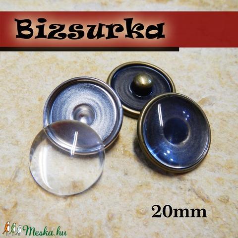 20-as Noosa díszpatent, üres + 18mm üveglencse / 2 színben, Gyöngy, ékszerkellék, Cabochon, Alkotók boltja