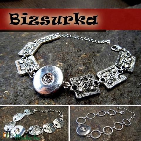 Noosa fémkarkötő, nikkel ezüst színű, 1 patentos / 3 típus, Gyöngy, ékszerkellék, Cabochon, Alkotók boltja