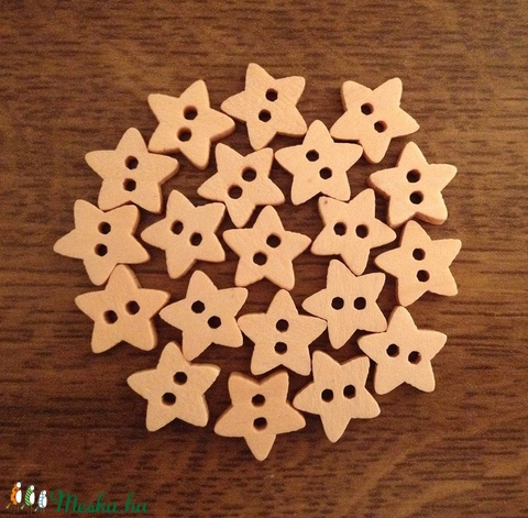 Csillag alakú natúr fa gombcsomag - 20 db (14 Ft/db), Gomb, Fa, Alkotók boltja