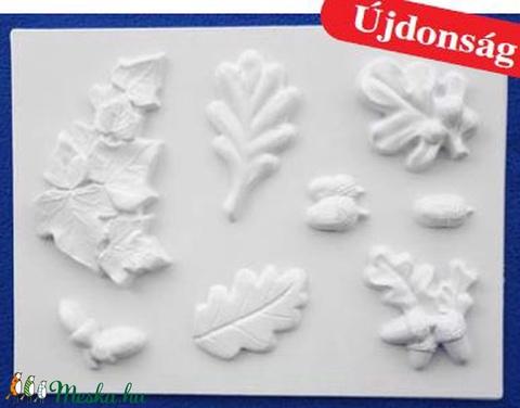 Növény-32 - gipszöntő forma (8 motívum) - levelek, makkok, Szerszámok, eszközök, Egyéb szerszám, eszköz, Alkotók boltja