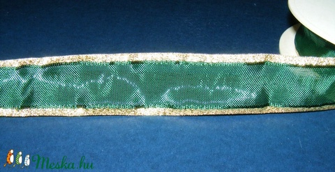 Organzaszalag (20. minta/1 m) - sötétzöld/arany lurex, Textil, Alkotók boltja