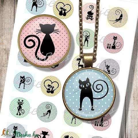 Nyomtatható papír alap ékszerekhez - macskás sziluettek, Gyöngy, ékszerkellék, Papír, Alkotók boltja