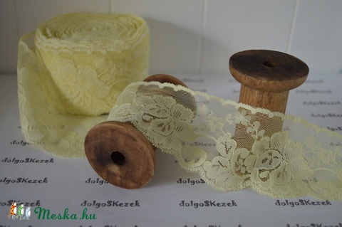 8ceaf4f7f6 50 mm-es babasárga puha műszálas csipke, Dekorációs kellékek, Textil,  Alkotók boltja