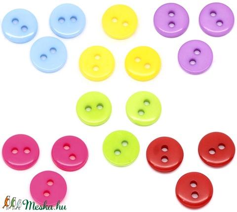 Kerek 9 mm-es színes gombok vegyes színekben, Gomb, Műanyag gomb, Alkotók boltja