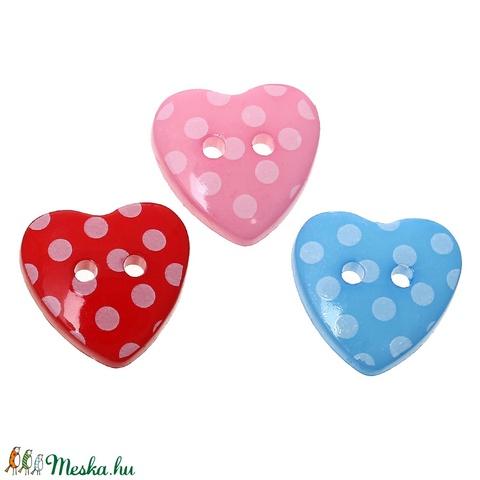 Gyönyörű szív alakú pöttyös gombok vegyes színekben, Dekorációs kellékek, Gomb, Alkotók boltja