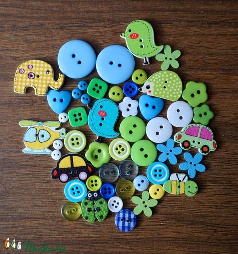 Fiús vegyes színű gombválogatás, Dekorációs kellékek, Gomb, Alkotók boltja