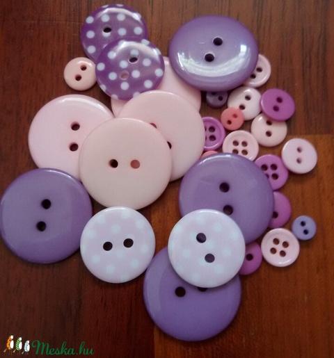 """""""Rózsaszín köd gombcsomag"""" műanyag gomb válogatás 30 db, Dekorációs kellékek, Gomb, Alkotók boltja"""