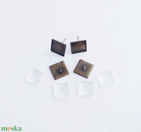 Fülbevaló alap + üveglencse - Négyzetes - Bronz színű - 2 pár, Gyöngy, ékszerkellék, Üveglencse, Alkotók boltja