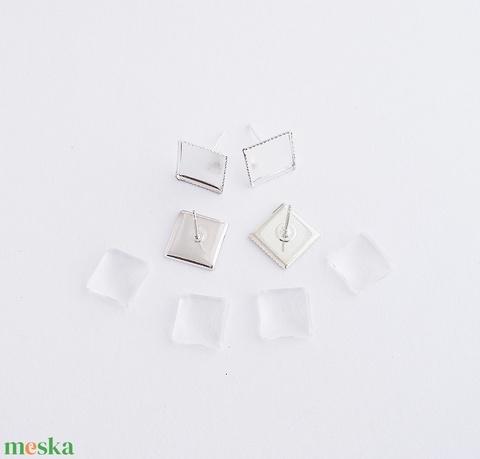 Fülbevaló alap + üveglencse - Négyzetes - Ezüst színű - 2 pár, Gyöngy, ékszerkellék, Üveglencse, Alkotók boltja