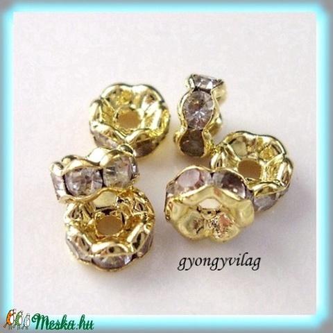 Kristály köves rondella arany színben 6db/csomag AKR01, Gyöngy, ékszerkellék, Fém köztesek, Alkotók boltja