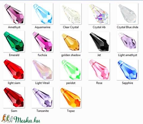 swarovski csepp 11mm-es több színben, Gyöngy, ékszerkellék, Swarovski kristályok, Alkotók boltja