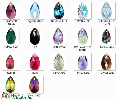 Swarovski csepp 22 mm-es több színben , Gyöngy, ékszerkellék, Swarovski kristályok, Alkotók boltja