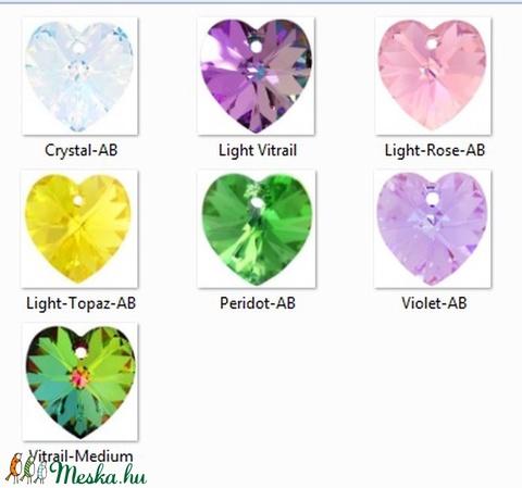Swarovski szív 18mm-es  AB bevonatos több színben   GYSWM SZ18AB, Gyöngy, ékszerkellék, Swarovski kristályok, Alkotók boltja