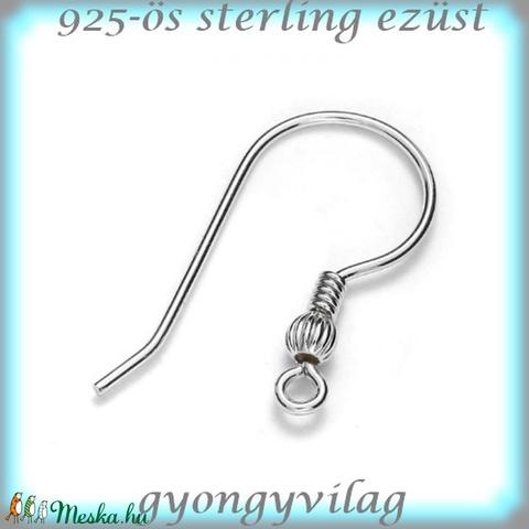 925-ös finomságú sterling ezüst fülbevaló kapocs EFK A 65-2, Gyöngy, ékszerkellék, Egyéb alkatrész, Alkotók boltja