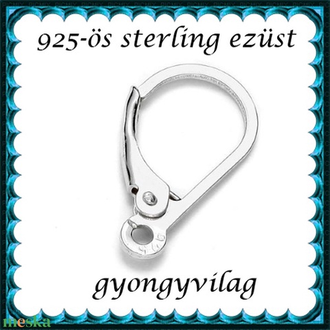 925-ös sterling ezüst ékszerkellék: fülbevalóalap biztonsági kapoccsal EFK K 23, Gyöngy, ékszerkellék, Egyéb alkatrész, Alkotók boltja