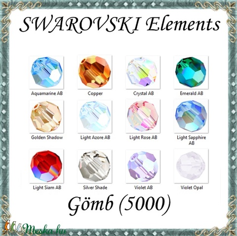 Ékszerkellék: Swarovski kristály gömb 4mm AB bevonatos 4db/csomag több színben, Gyöngy, ékszerkellék, Swarovski kristályok, Alkotók boltja