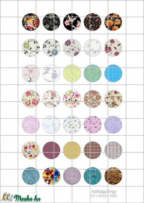 TEXTURA  kör alakú digitális montázs 25 x 25mm 35db, Gyöngy, ékszerkellék, Üveglencse, Alkotók boltja