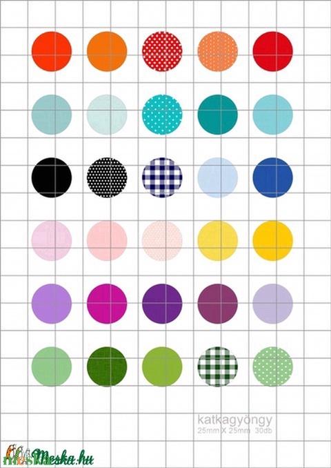 SZÍNEK  kör alakú digitális montázs 25 x 25mm 35db, Gyöngy, ékszerkellék, Üveglencse, Alkotók boltja