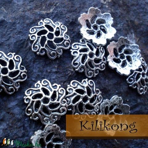 Antik ezüst gyöngykupak 6db/csomag, Gyöngy, ékszerkellék, Fém köztesek, Alkotók boltja
