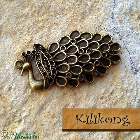 Antik bronz páva medál, charm, Gyöngy, ékszerkellék, Fém köztesek, Alkotók boltja