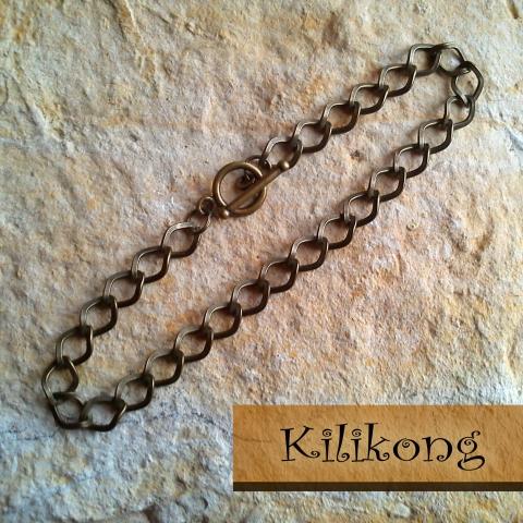 Antik bronz  karkötő-alap T-kapoccsal záródó, Gyöngy, ékszerkellék, Egyéb alkatrész, Alkotók boltja